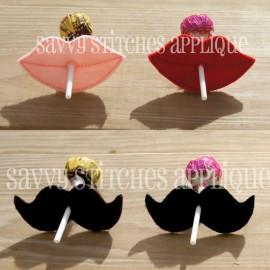 Lips and Mustache Lollipop Felties